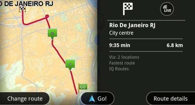 App de GPS TomTom - Exemplo de rota multi-destino