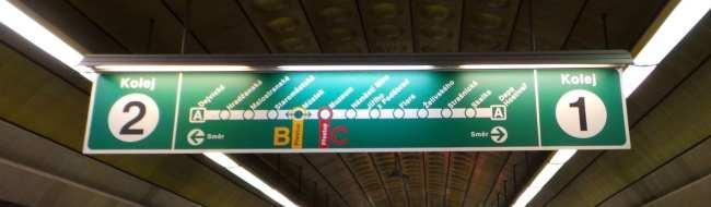 Como usar o metrô de Praga - Mapa do metrô na estação