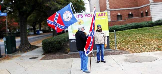 Roteiro de 1 dia em Richmond - Pessoas com a bandeira dos Confederados