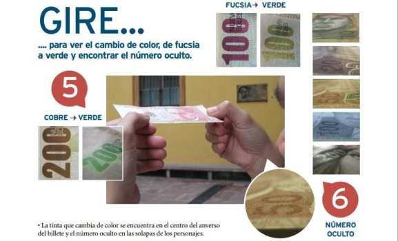Como identificar notas falsas de nuevos soles no Peru - Cor dos números grandes