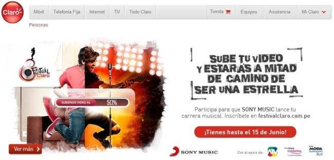 Internet 3G no Peru - Site da Claro