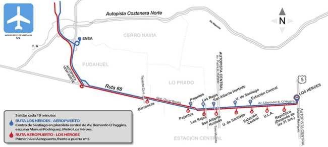 Como ir do aeroporto ao centro de Santiago - Mapa