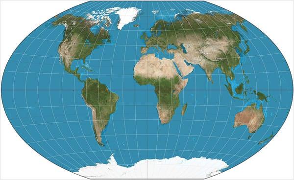 Projeção Winkel tripel (1921), adotada desde 1998 pela National Geographic Society como o seu mapa principal (Strebe – CC BY-SA 3.0)