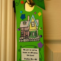 Joshua bible craft - Funky door hanger