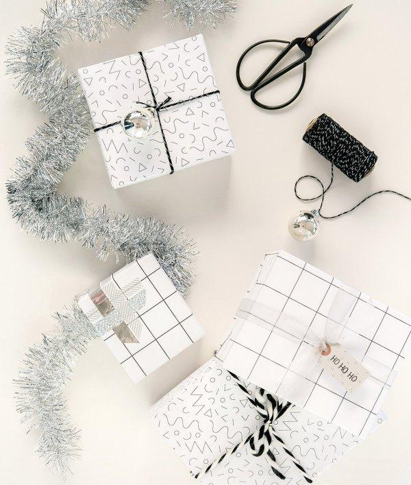 Anniversaire Minimaliste - Papier cadeau Noir et blanc 1