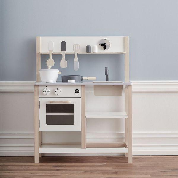 Kid's Concept - Cuisine pour enfant en bois gris et blanc 1