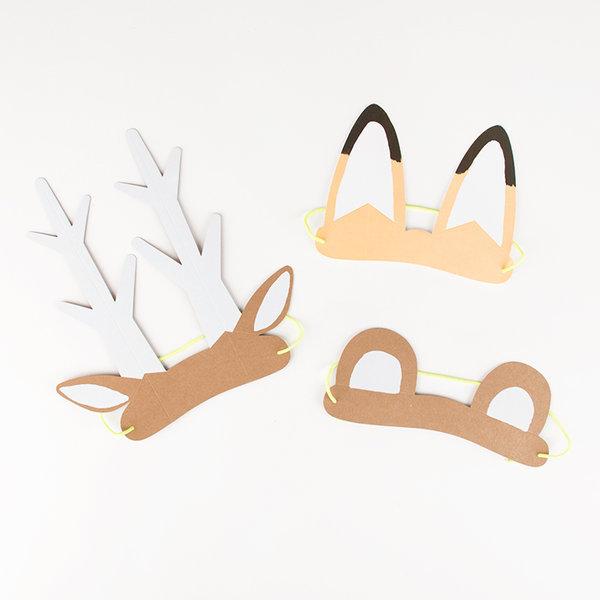 Anniversaire Forêt - 8 oreilles en papier Animaux de la forêt 1