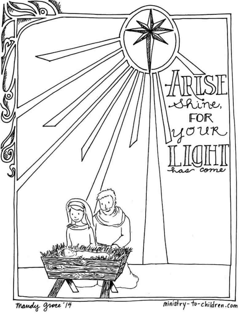 Mary and Joseph Coloring Page Birth of Jesus