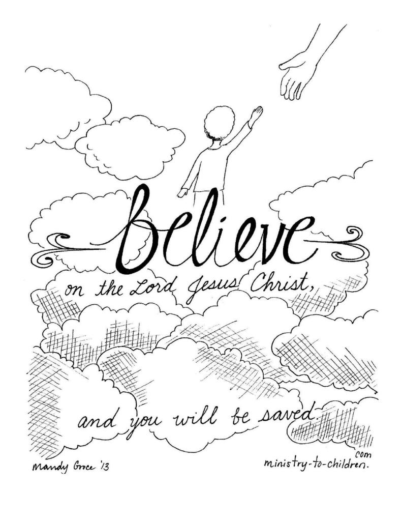 Coloring Page Believe in the Lord Jesus Christ