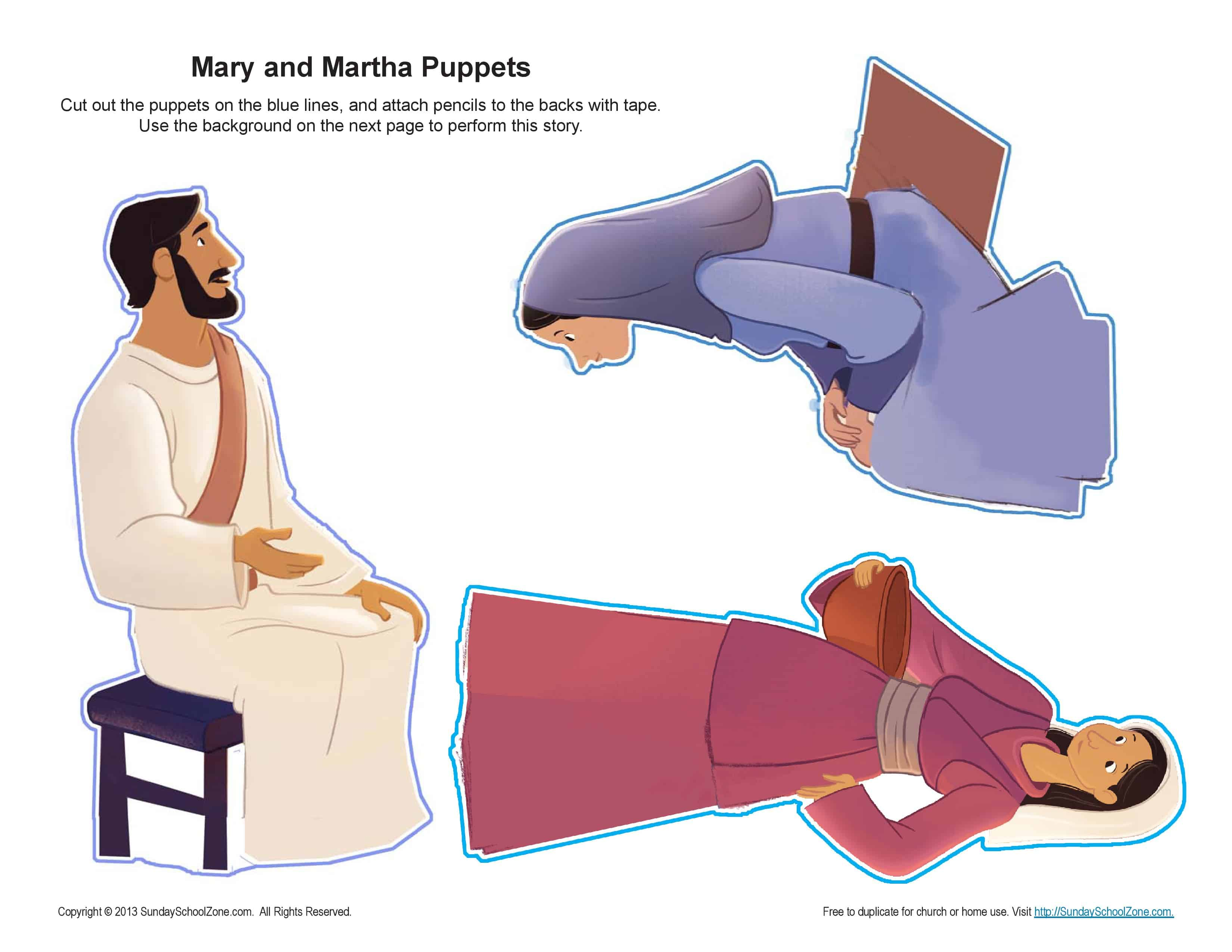 Mary And Martha Puppets Craft On Sunday School Zone