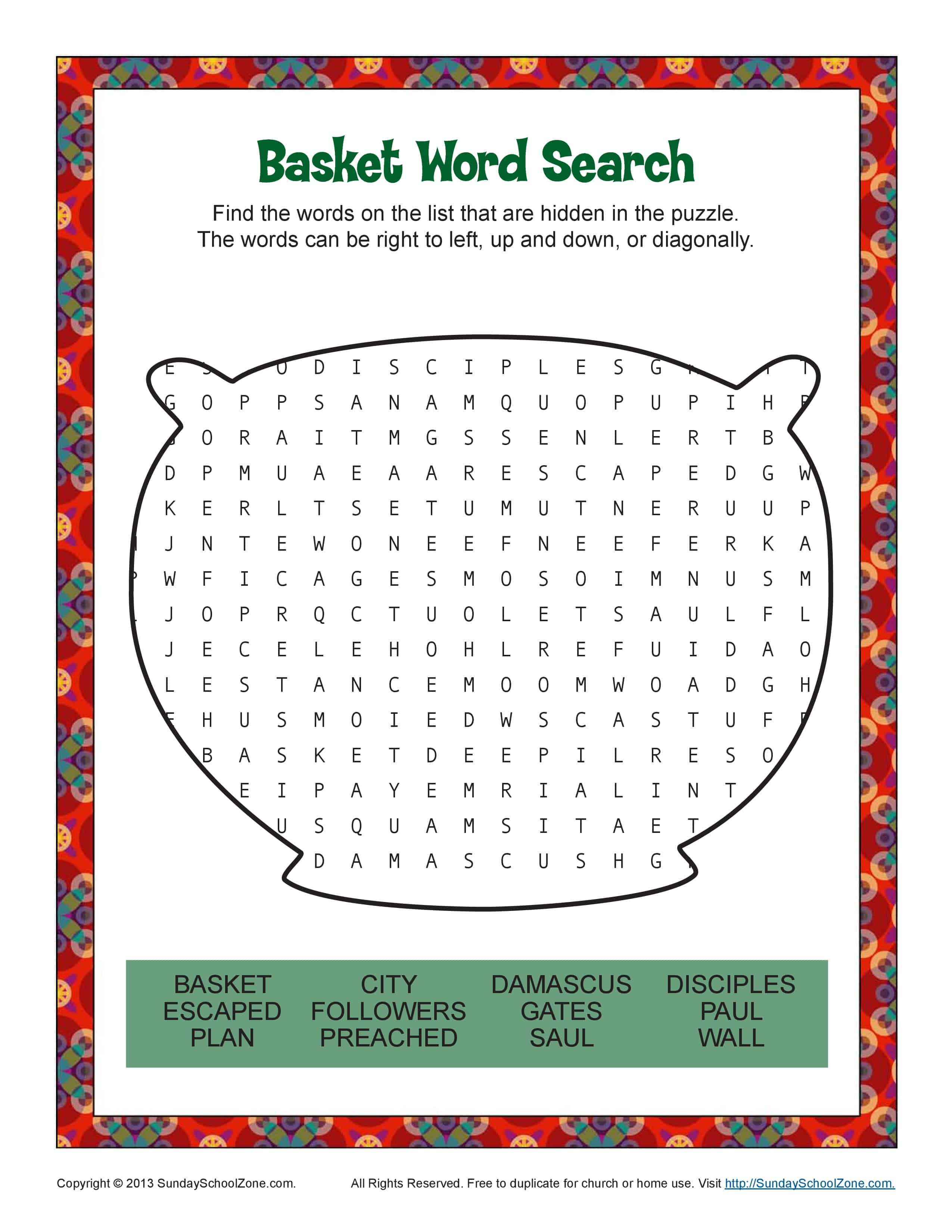 Paul Escaped Damascus In A Basket Word Search