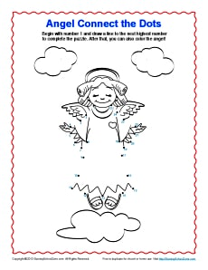 Angel Connect The Dots Coloring Pages For Kids