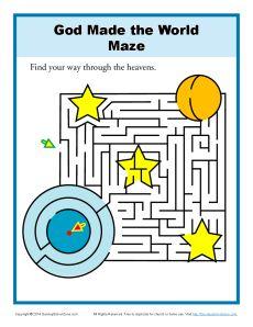 God Made The World Maze Bible Activities For Children