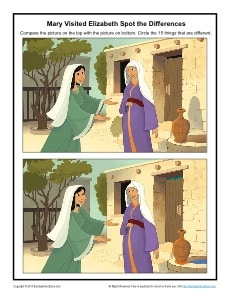Mary Visited Elizabeth Printable Spot The Differences