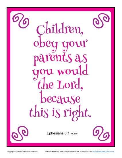 Children Obey Your Parents Scripture Page Childrens