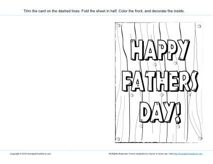 Happy Fathers Day Card Childrens Bible Activities