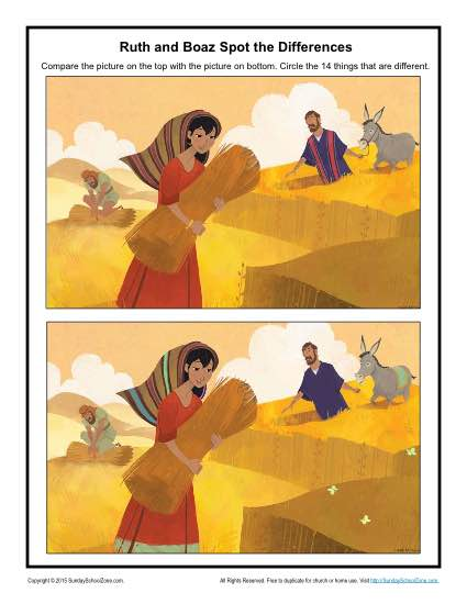 Ruth And Boaz Spot The Differences Childrens Bible
