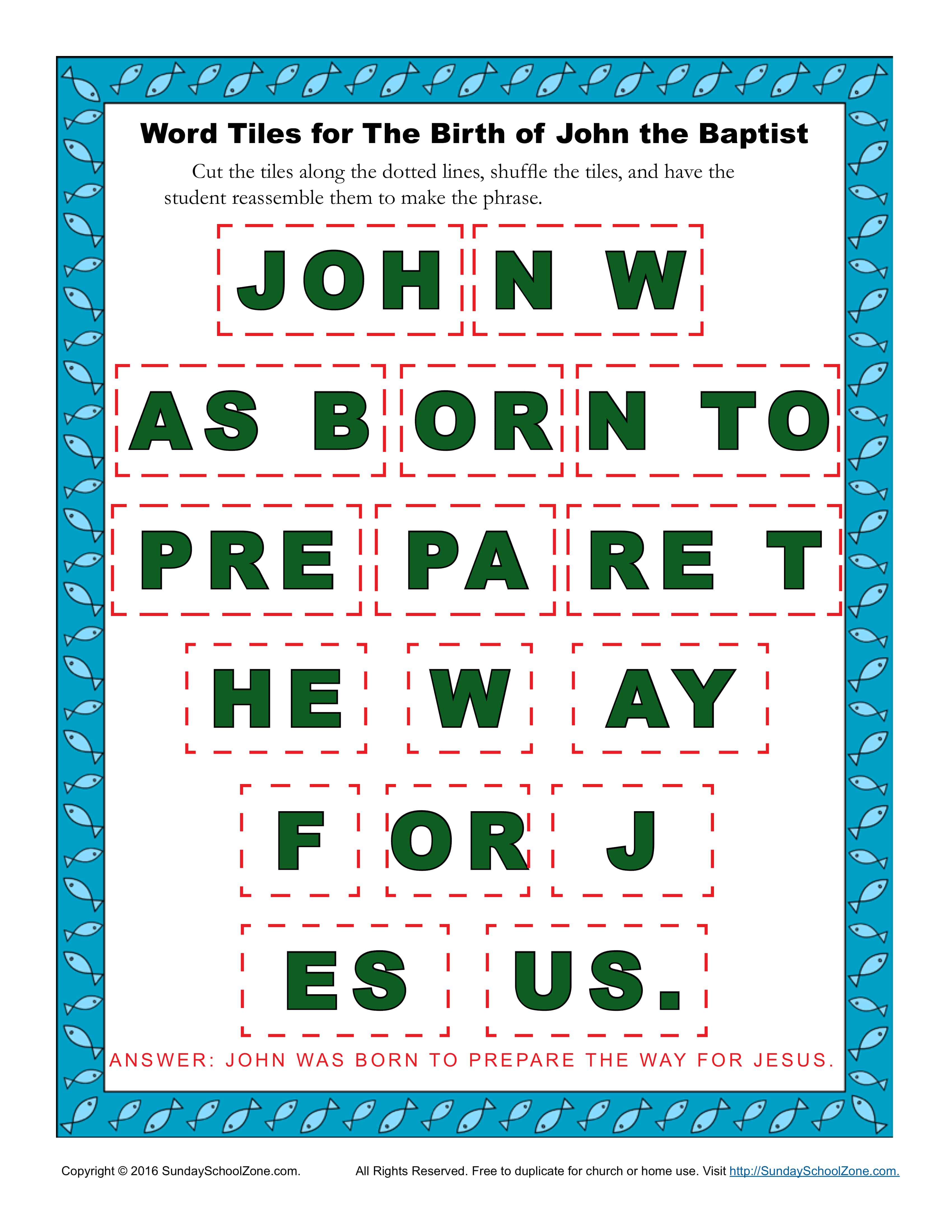 The Birth Of John The Baptist Word Tiles