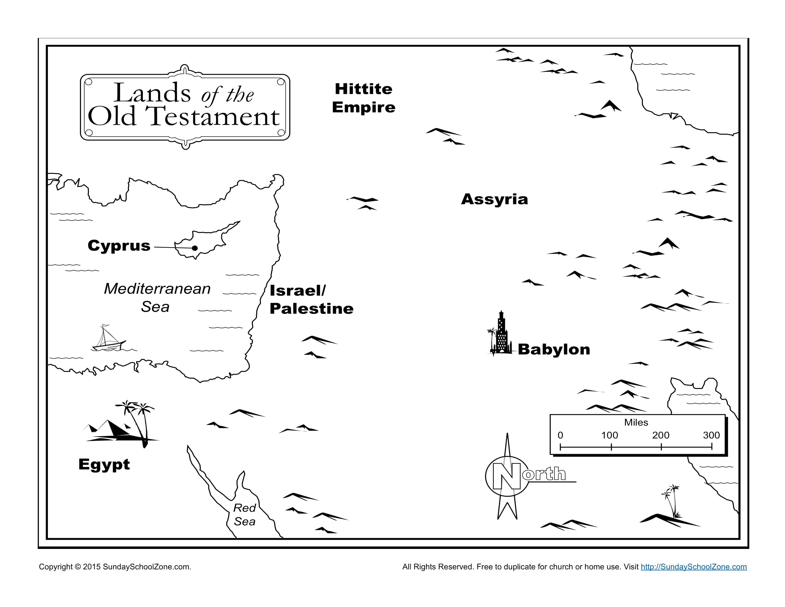 Lands Of The Old Testament Bible Map