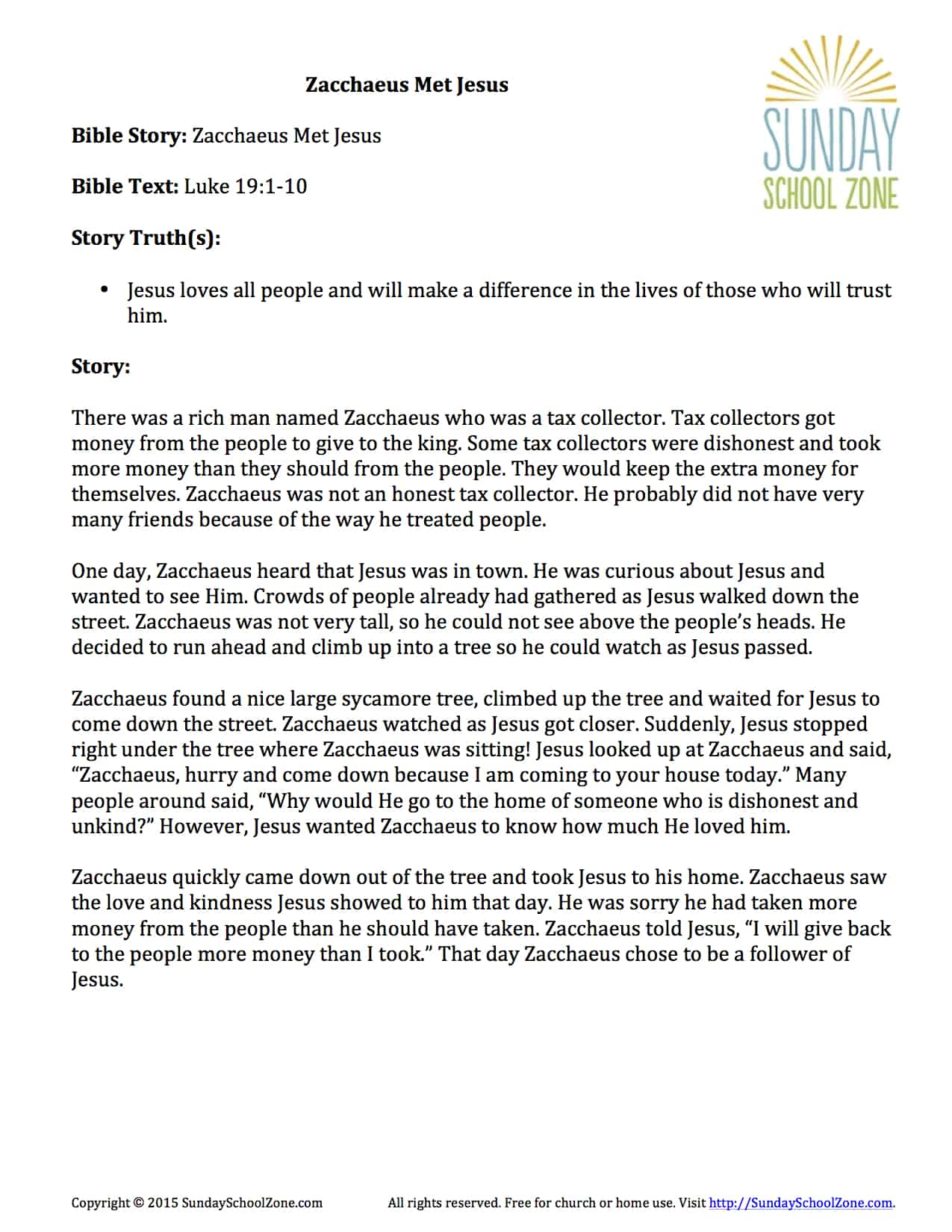 The Story Of Zacchaeus For Kids
