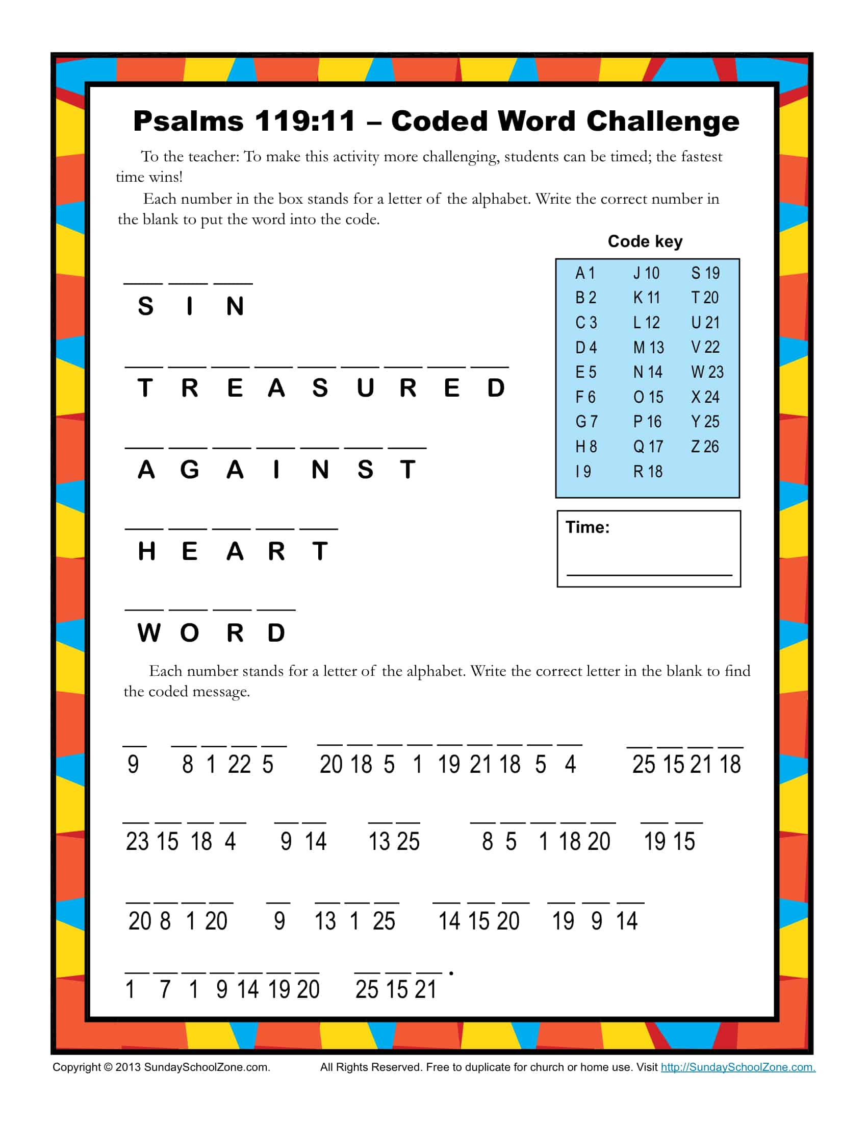 Psalm 119 11 Coded Word Activity