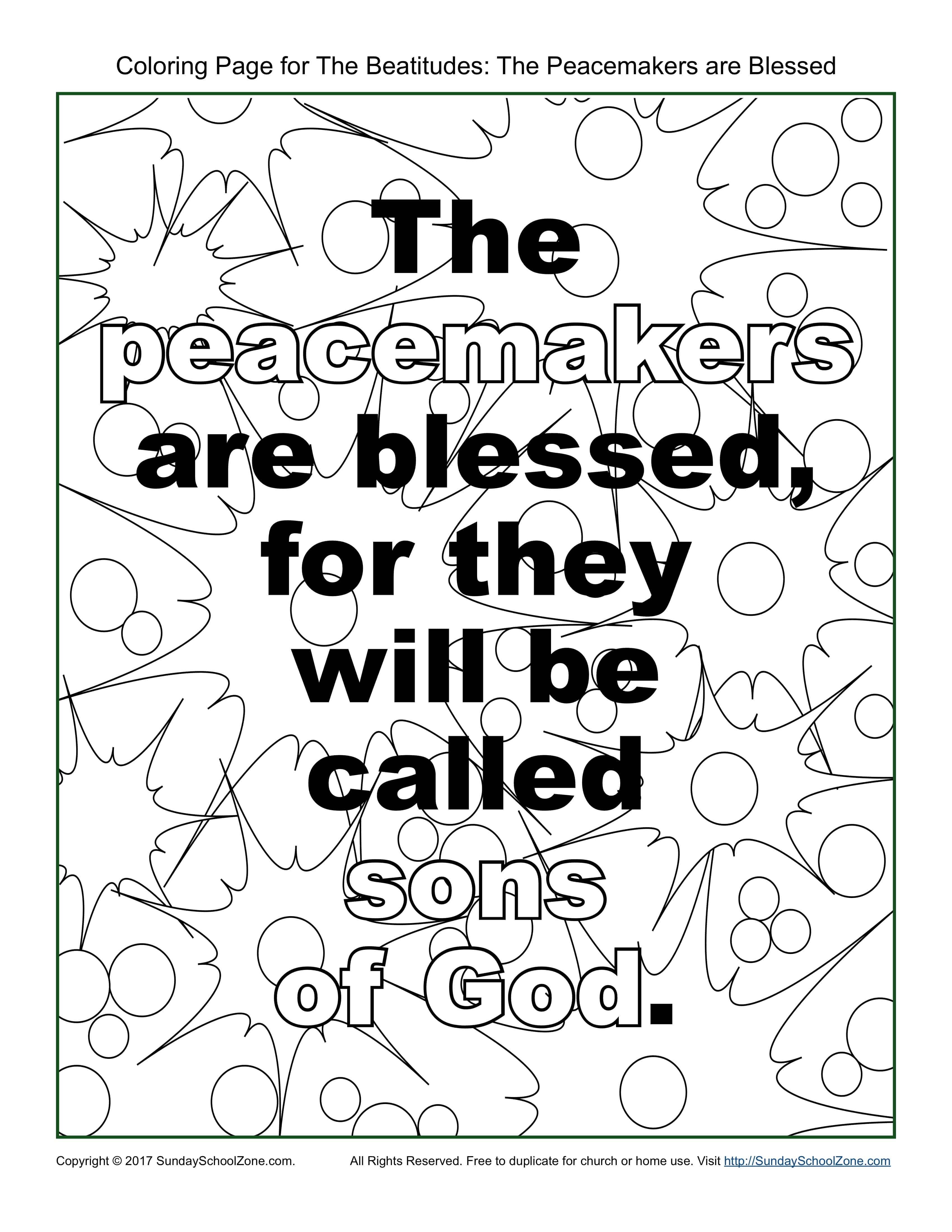 Peacemakers Beatitudes Coloring Page On Sunday School Zone