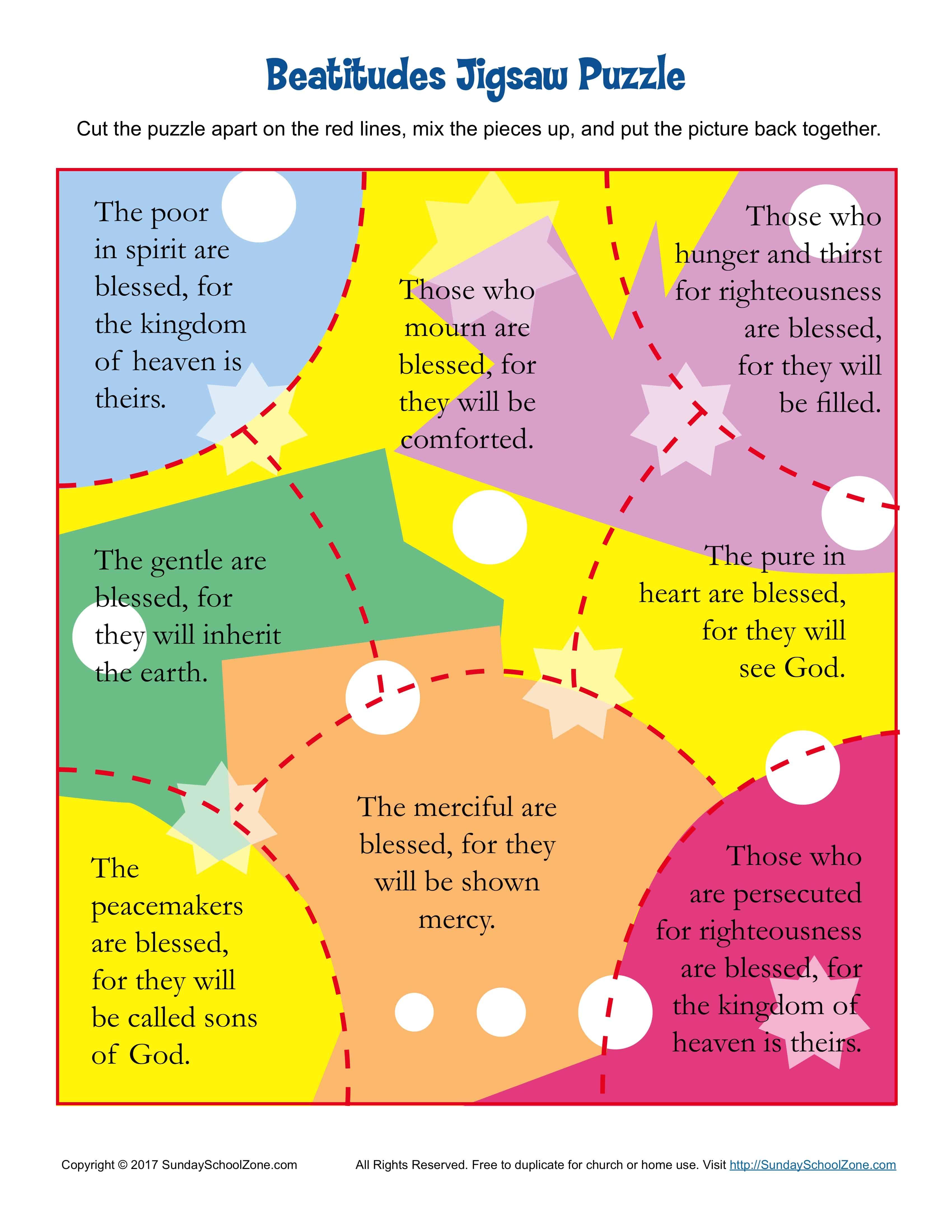 The Beatitudes Jigsaw Puzzle On Sunday School Zone