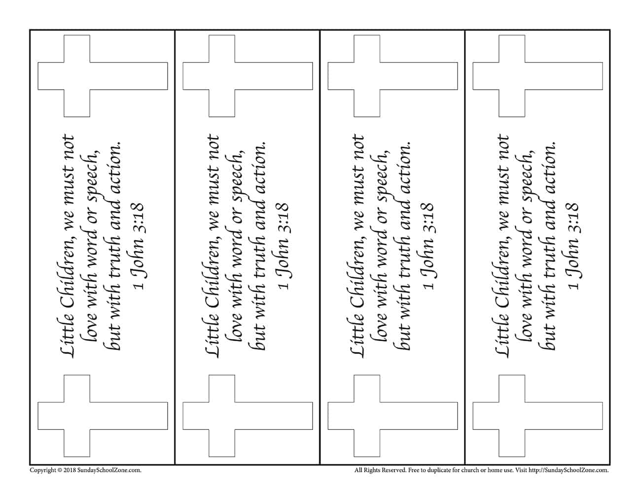 Colorable John 3 16 Bookmark Version 2 On Sunday School Zone