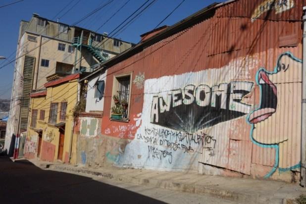 """Graffiti - """"Awesome"""" - Cerro Alegre - Valparaiso"""
