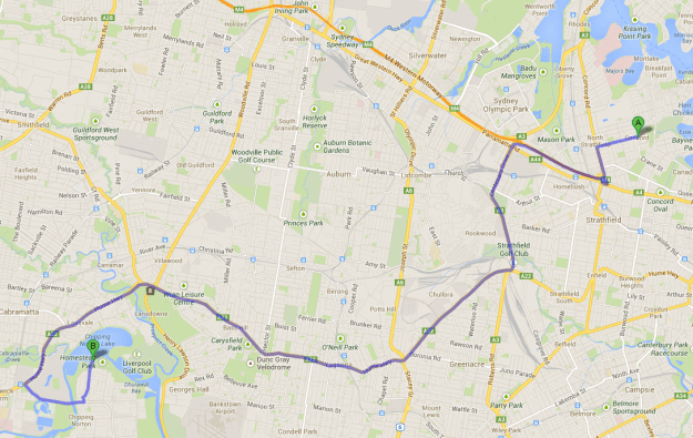 Twenty-two kilometres from home (13 miles).