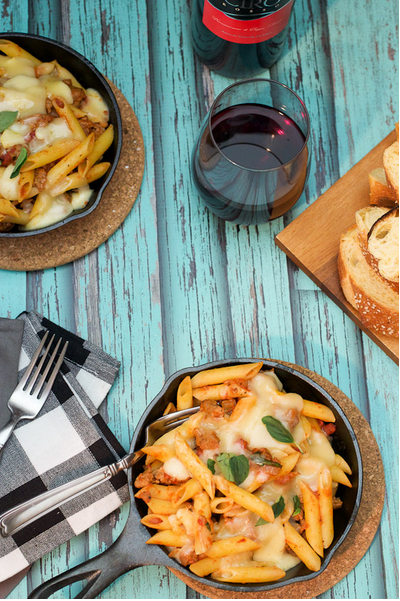 Baked Pasta with Sausage and Fontina for Two from Susan at The Girl in the Little Red Kitchen