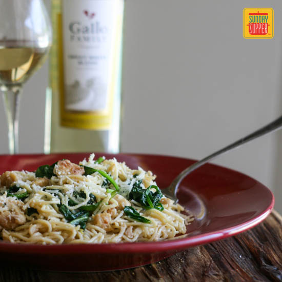 Angel Hair Pasta with Chicken, Spinach, and White Wine Sauce by Family Foodie