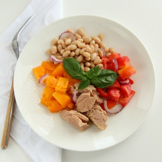 Tuna, Tomato, Basil, and Bean Salad by Shockingly Delicious