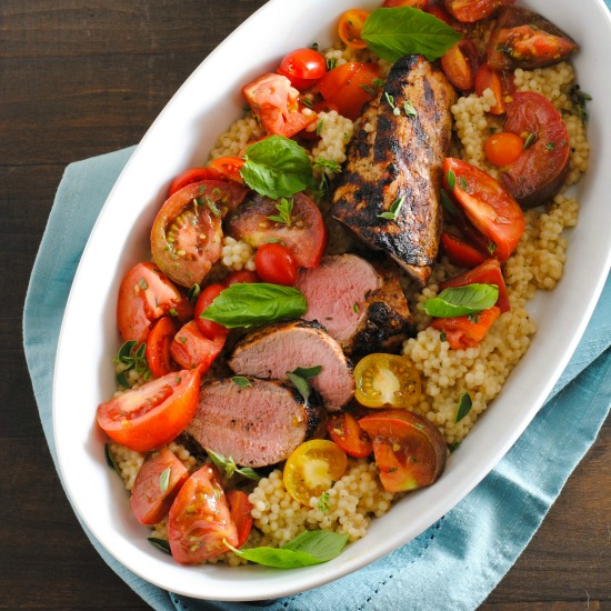 Grilled Pork Tenderloin with Couscous & Heirloom Tomato Salad