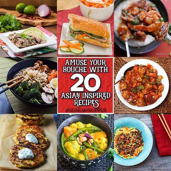A photo collage of Asian inspired dishes.