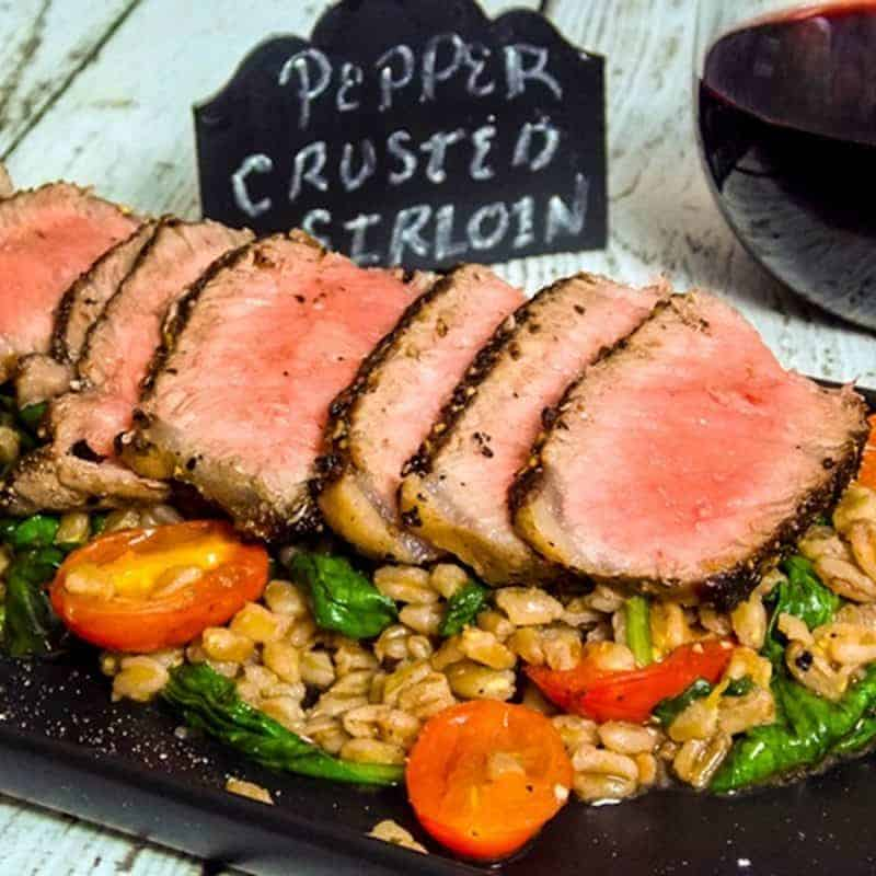 Pepper Crusted Sear-Roasted Sirloin Steaks with Warm Farro Spinach Salad Photo by Grumpy's Honeybunch