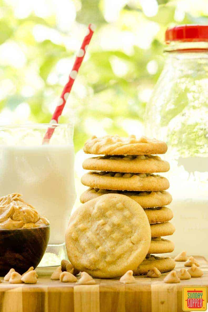 Double Peanut Butter Cookies are a twist on a classic treat. Peanut butter chips make these cookies doubly good.