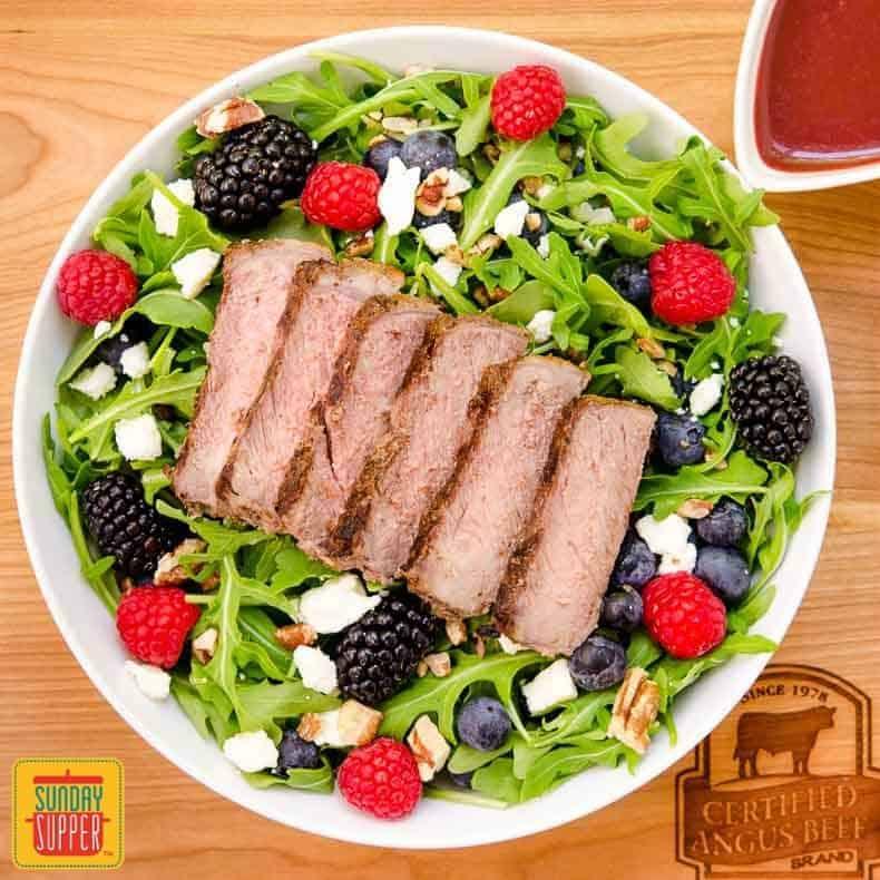 Summer Berry Steak Salad with homemade Berry Balsamic Vinaigrette