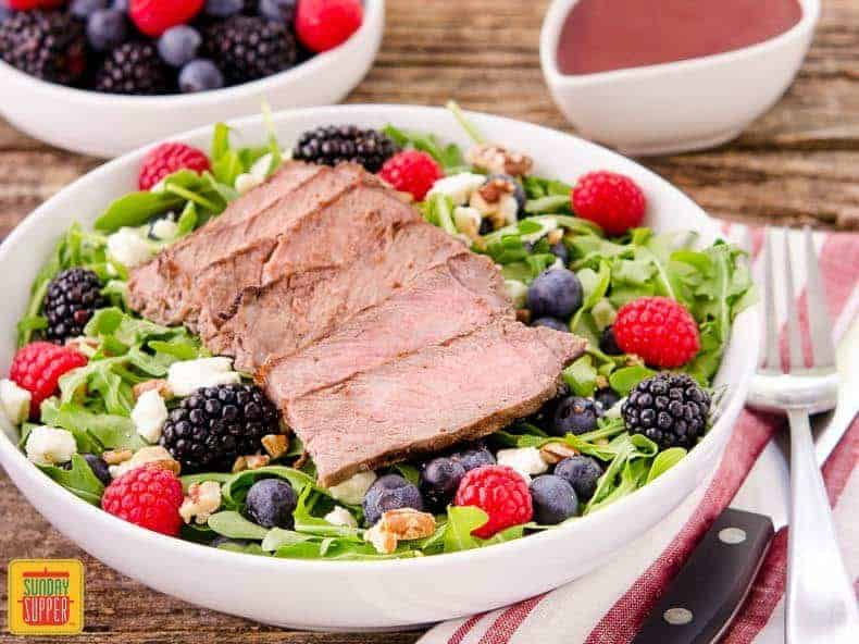Summer Berry Steak Salad with homemade Berry Balsamic Vinaigrette