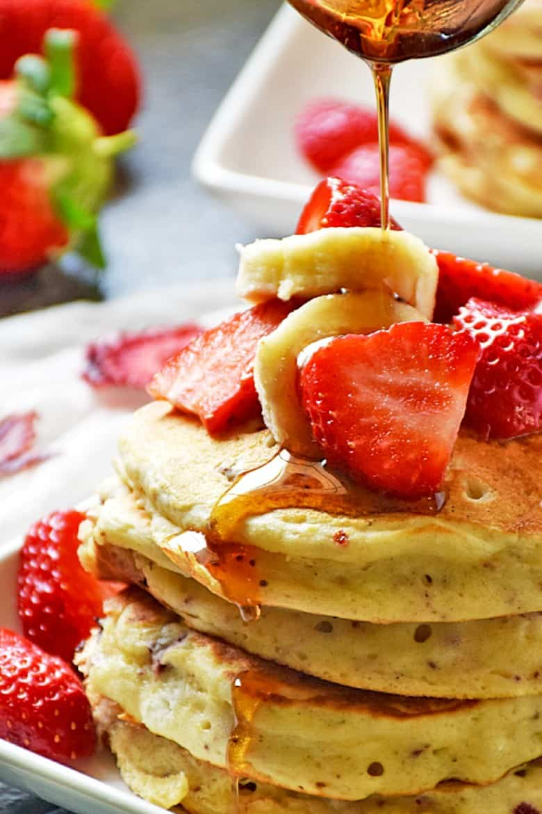 strawberry pancakes recipe from Life Tastes Good