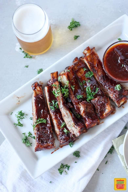 Slow Cooker Pork Ribs with Bourbon BBQ Sauce #SundaySupper