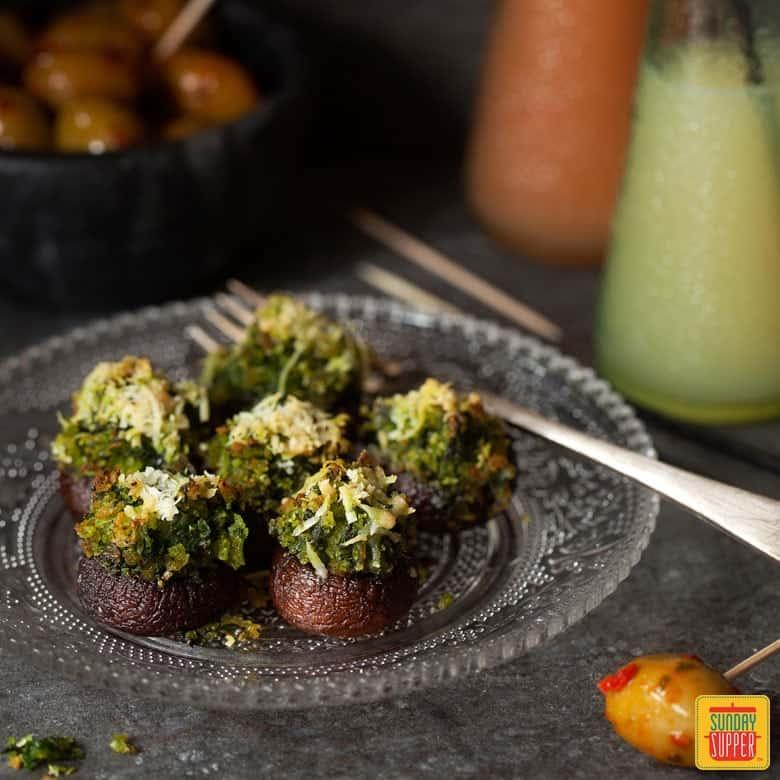 Vegetarian Stuffed Mushroom Recipe on a party platter