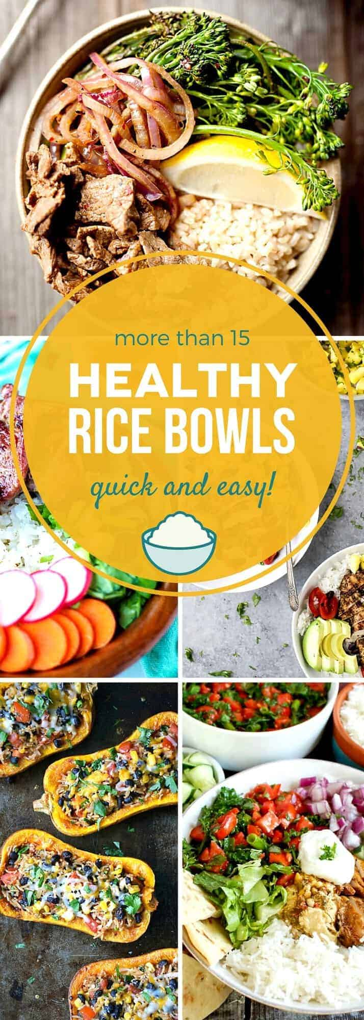 Start the new year off right by adding these healthy rice bowls to your home menu! These easy recipes are quick to prepare, and are full of hearty grains, lean proteins, and delicious vegetables. With both gluten free and vegan options, you're sure to find the perfect healthy rice bowl recipe for you in this collection! #SundaySupper #healthyitup #healthyrecipes #ricedish #nourishbowl