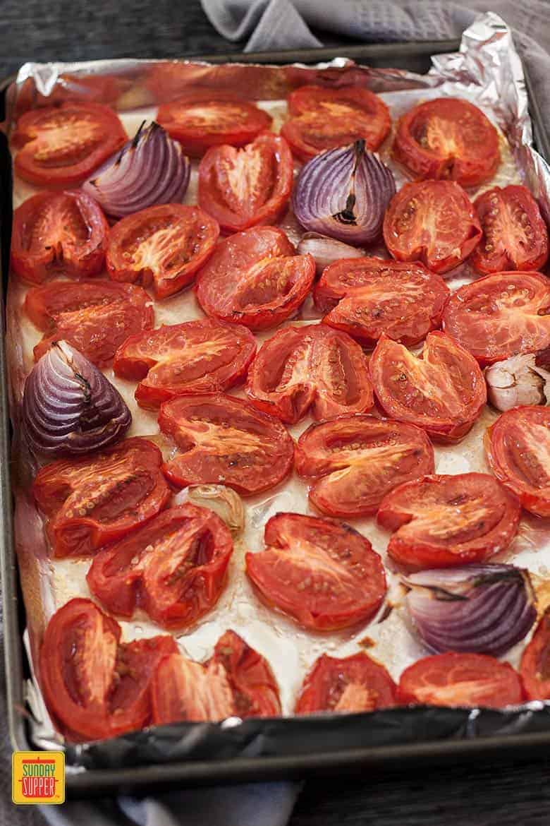 Roasted tomatoes for making the roasted tomato soup