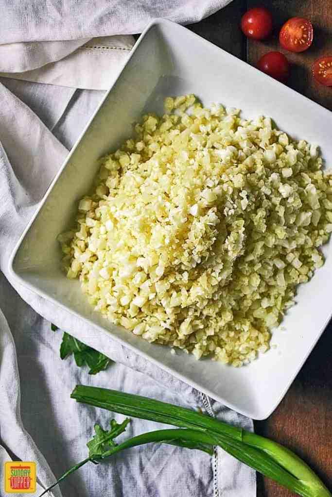 Cauliflower rice for Greek cauliflower rice salad