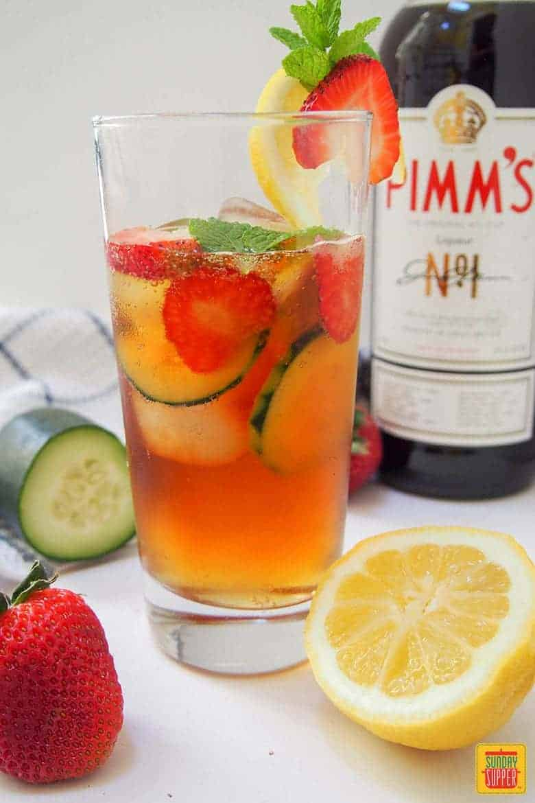 Pimm's Cup Cocktail with fruit ready to drink