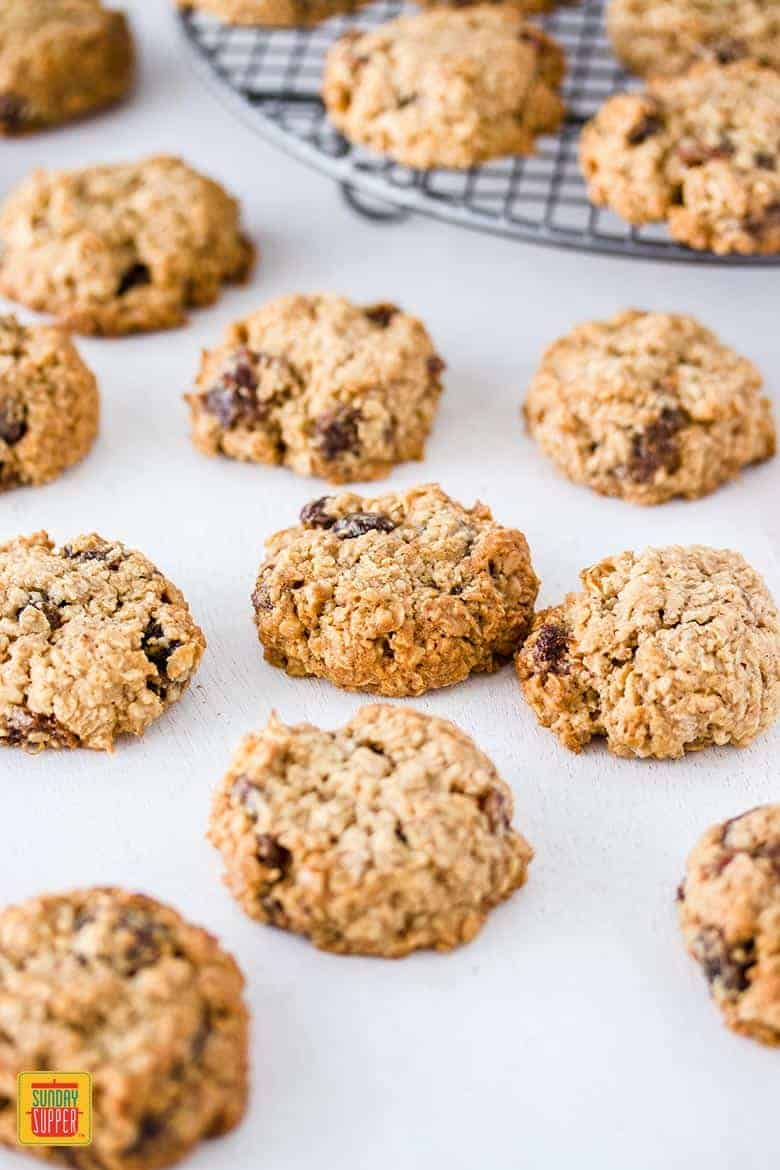 Gluten free oatmeal raisin cookies baked and ready to eat