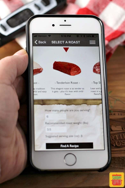 Roast perfect app open on phone with tenderloin roast selected