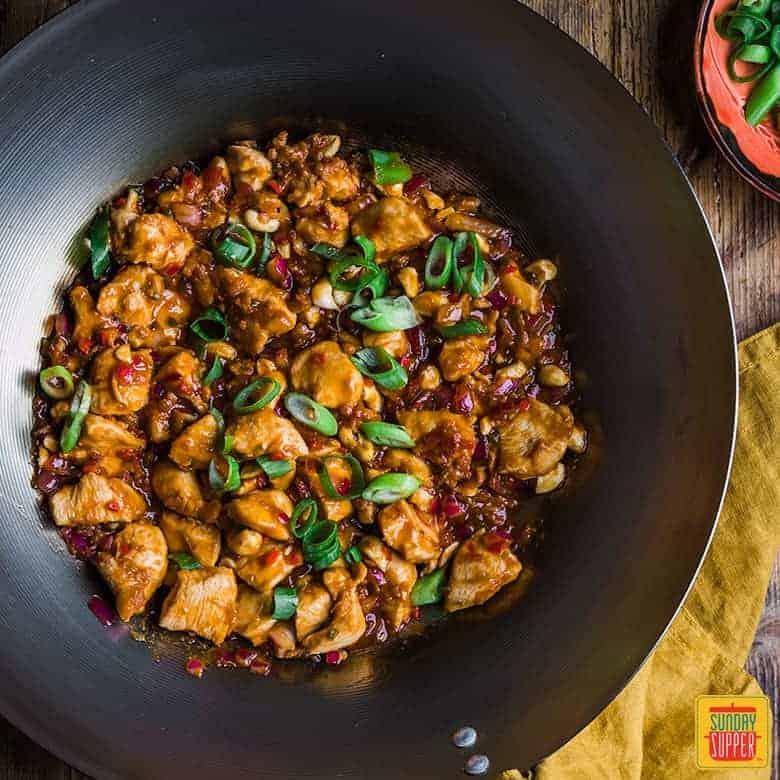 Dragon chicken recipe in a wok after cooking