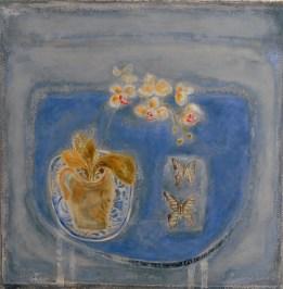 Christine Bird, Blue still life with butterflies - £550